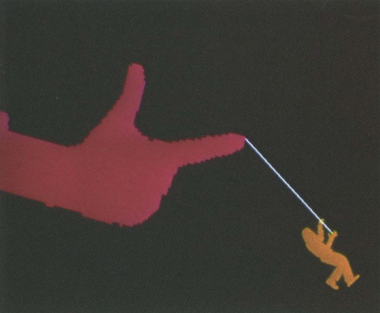 ©1988, Myron W. Krueger, Hanging by a Thread