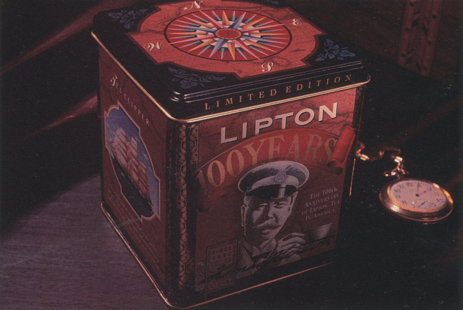 ©, Primo Angeli Inc., Lipton 100th Anniversary Tea Tin